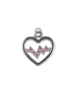 Kette Herzschlag Silber-Rosa klein