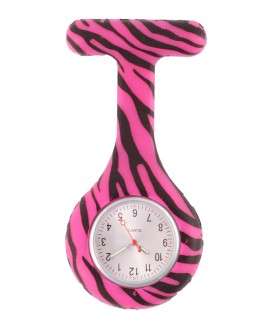 Silikon Schwesternuhr Zebra Rosa