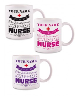 Tasse Awesome Nurse mit Namensaufdruck
