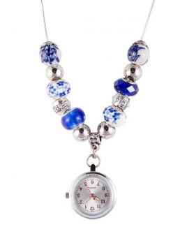 Halskette Uhr Perle Antikblau